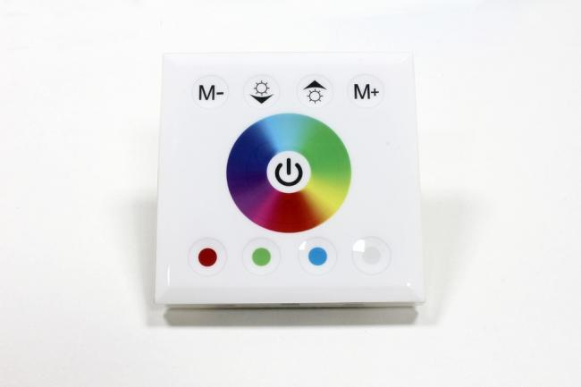 Recessed control panel for RGBW + warm white LED-strips